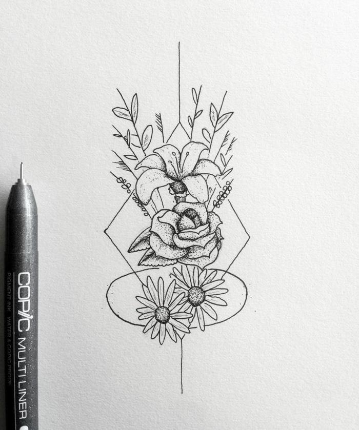 Les dessins géométriques idée comment dessiner lignes fleurs