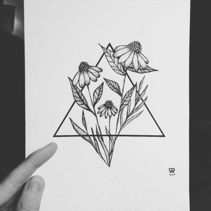 Magnifique dessin forme géométrique beau dessin pas a pas fleur dans triangle