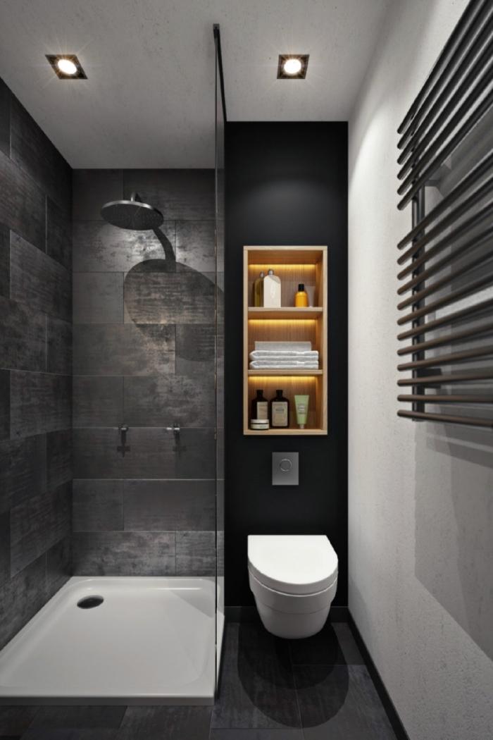 Accessoires salle de bain noir et bois - Accessoire salle de bain bois ...