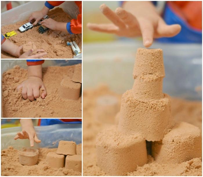 comment faire un château de sable à la maison avec un sable cinétique à modeler fait maison