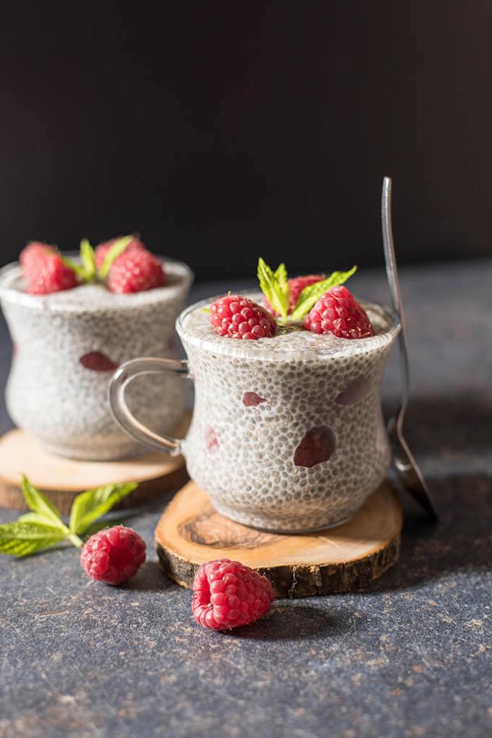 dessert rapide et léger avec graines de chia, recette de pudding de chia au lait de noix de coco et aux framboises