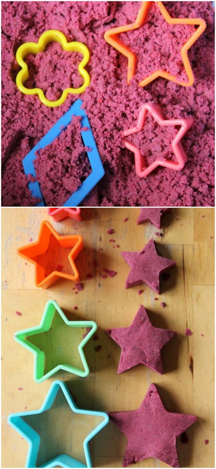 recette de sable à modeler à préparer ensemble avec les enfants, superbe idée pour une activité sensorielle peu coûteuse de modelage