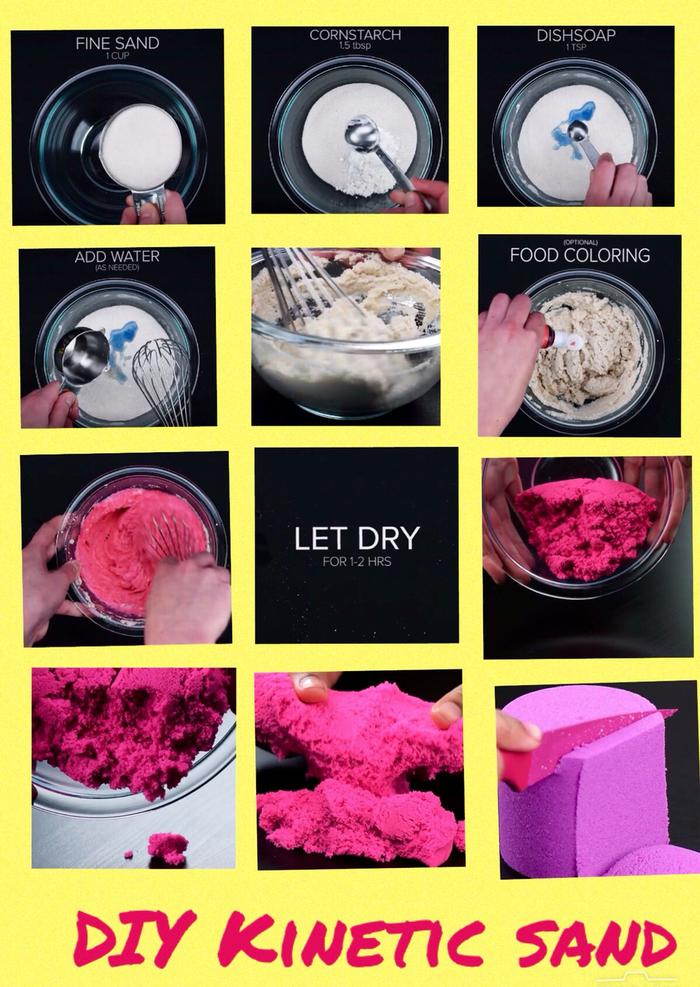 les étapes de préparation du sable à modeler de couleur pourpre, recette de base avec des ingrédients simples et peu coûteux