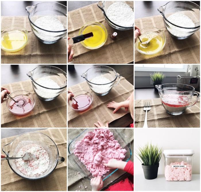 les étapes de préparation d'un sable a modeler à la maison à base de trois ingrédients de base, une pâte à modeler faite maison totalement inoffensive