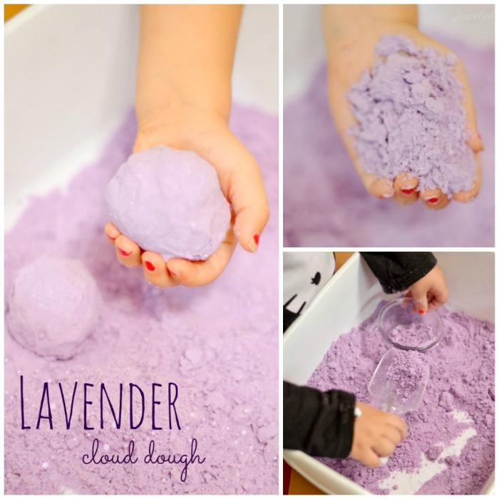 comment faire du sable magique super sand qui sent la lavande, une activité manuelle qui contribue au développent sensoriel des enfants