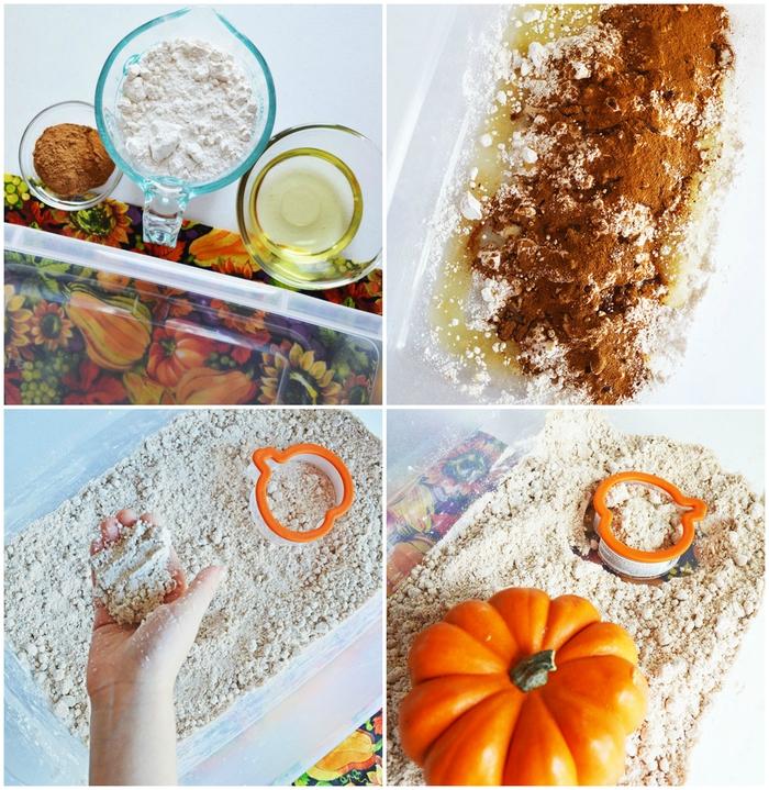 recette de sable à modeler parfumé à la citrouille à base de trois ingrédients qu'on a tous dans la cuisine