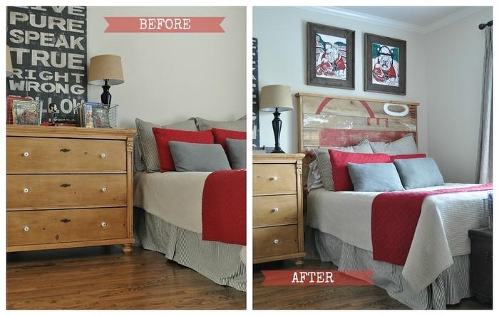 idées pour un relooking à petit budget de la chambre ado avec une tete de lit en palette personnalisée avec de la peinture rouge et blanc