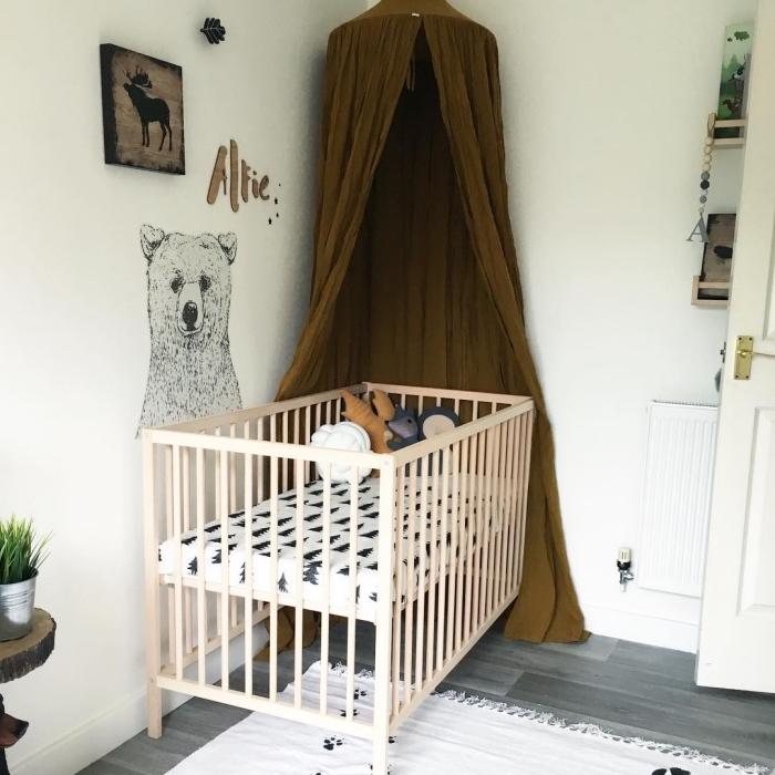 modèle d'aménagement de la deco chambre fille ou garçon bébé avec plancher gris et murs blancs, comment décorer la pièce blanche