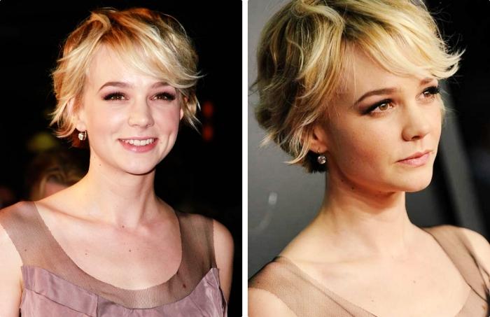 tendance capillaire avec une coiffure femme aux cheveux courts, coloration blonde avec racines foncées