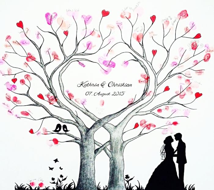tampon encreur mariage à utiliser pour décorer la toile blanche avec dessin à design arbre et couple de jeunes mariés