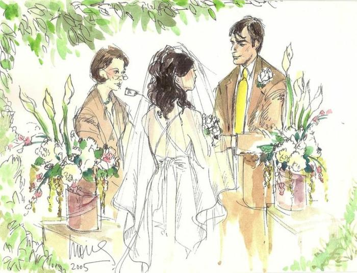 Illustration pour livret de messe mariage symbole mariés illustration cool se dire oui