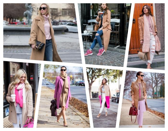 pull over rose pastel avec paire de jeans clairs et manteau long femme camel, modèle d'écharpe ombré en blanc et rose