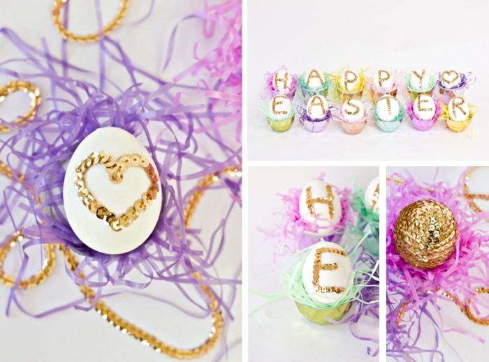 modèle de décoration pour la fete de paques, oeufs blancs décorés avec strass en forme de lettres dorées et papier coloré