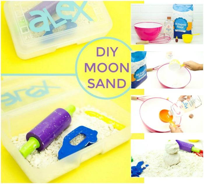 recette sable magique à base de farine et d'huile pour bébé, une pâte à modeler faite maison d'une consistance friable mais modelable
