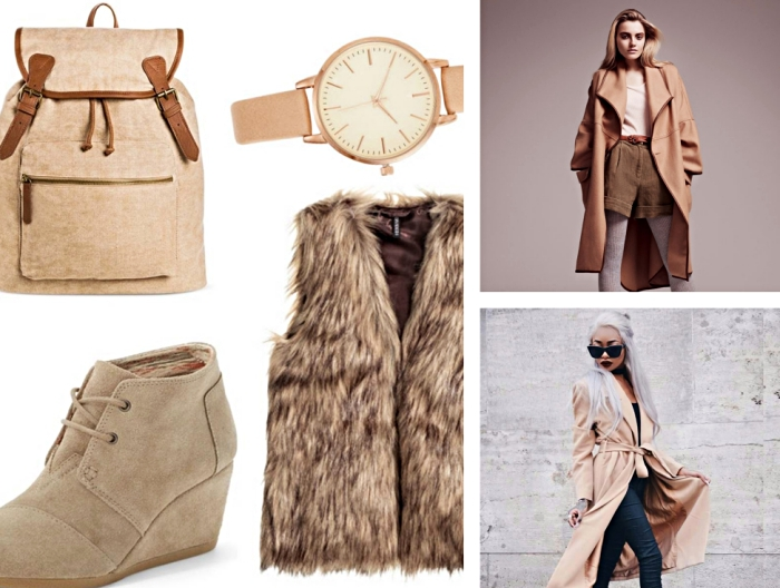 manteau femme camel long combiné avec shorts kaki et blouse beige, pantalon noir slim porté avec manteau long beige
