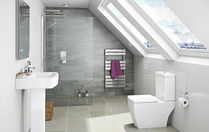 carreaux gris, vasque sur pied, porte serviette mural, carrelage gris et beige