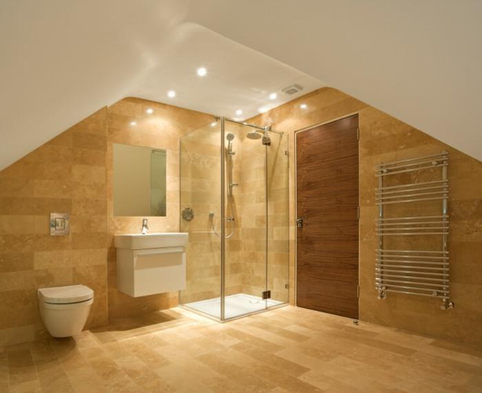 vasque flottante, cabine de douche, vasque flottante, carrelage beige, plafond blanc