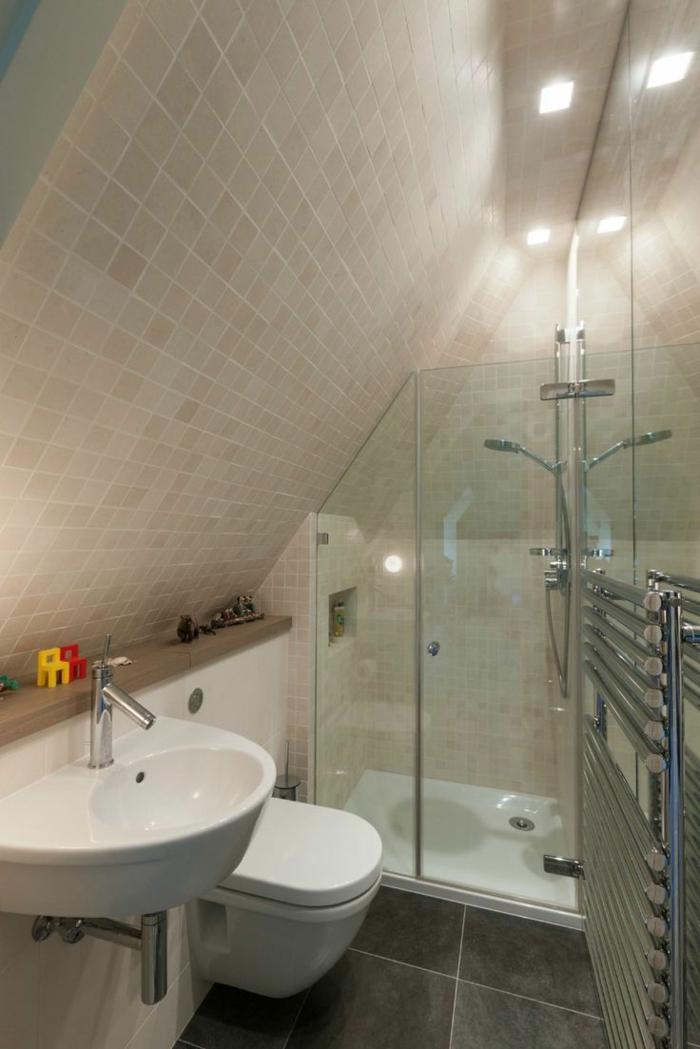 vasque suspendue, toilettes suspendues, carrelage couleur taupe, cabine de douche en verre