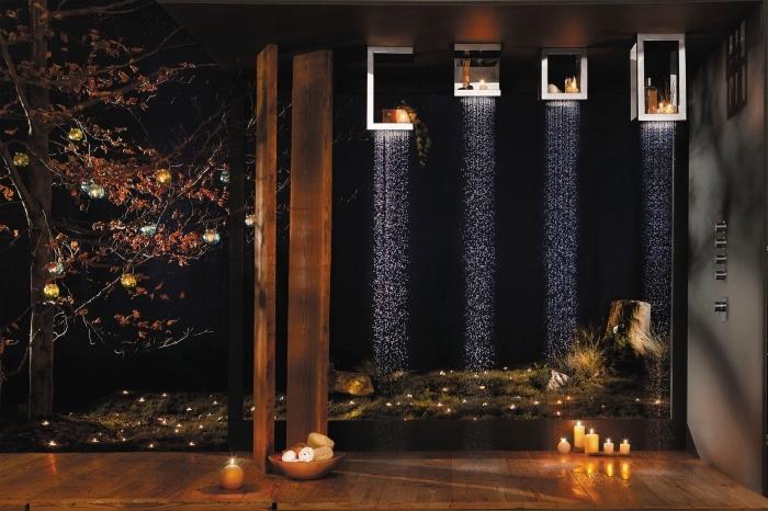 appareil et accessoires high tech pour la salle de bain avec une douche à effet pluie, ambiance romantique avec bougies aromatiques dans la salle de bain de bois