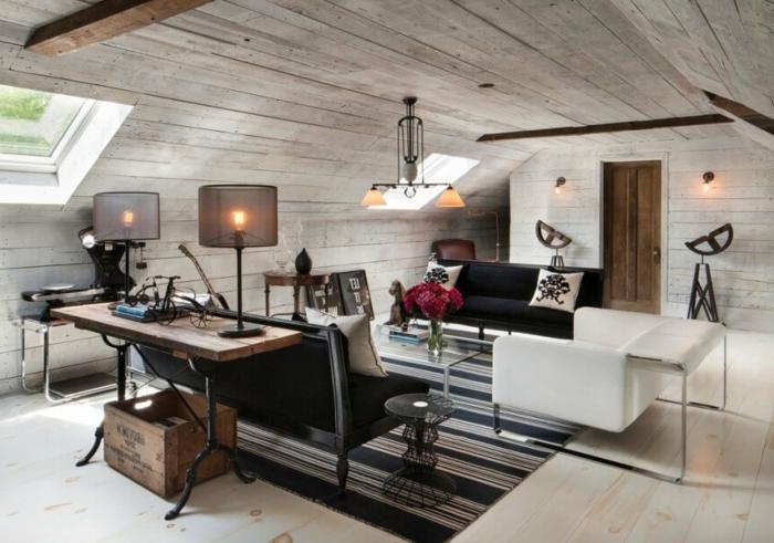 amenagement de combles rustique industriel, lampes de bureau, bureau en bois et fer, tapis rustique