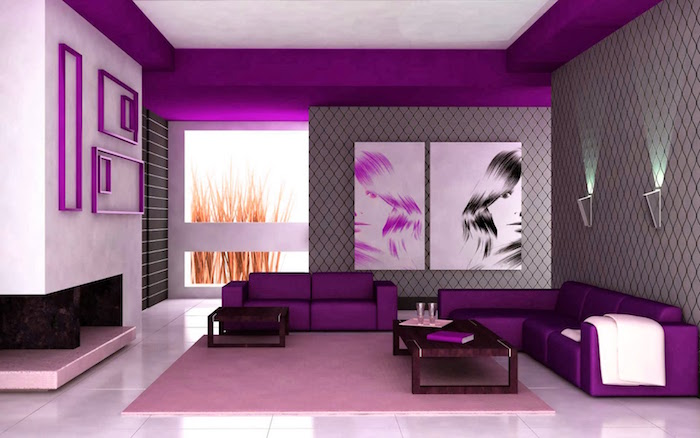 image salon moderne rose, aménagement sejour contemporain gris et violet
