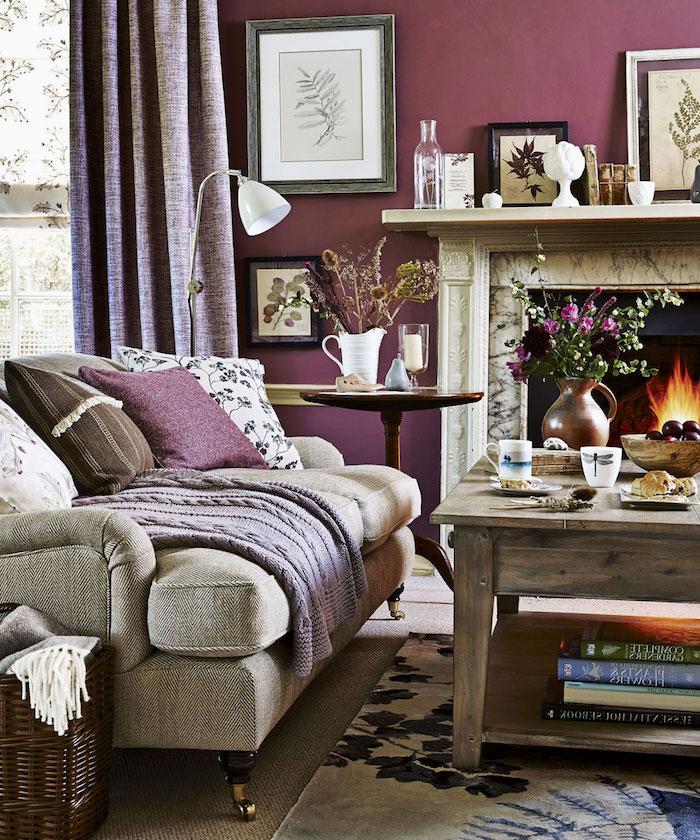 décorer salon vintage cosy, séjour rustique avec mur couleur prune et table en bois
