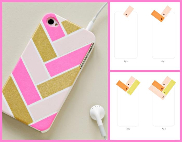 tutoriel facile pour personnaliser coque iphone 6 en suivant la schème et avec trois vernis à ongles de couleurs rose pastel rose bonbon et or