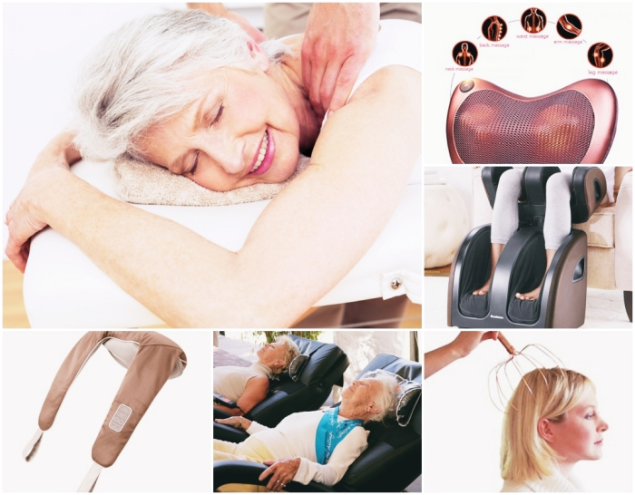 outils et accessoires pour faire un massage de tête ou de dos à la maison, appareil massage de pieds à offrir pour la fête des grands mères