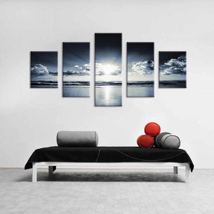 tableau photo paysage, cadre decoratif photo de plage, déco minimaliste de salon