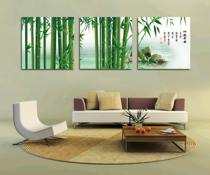 style de tableaux pour décorer un salon sur mur beige, photo cadre de bambous