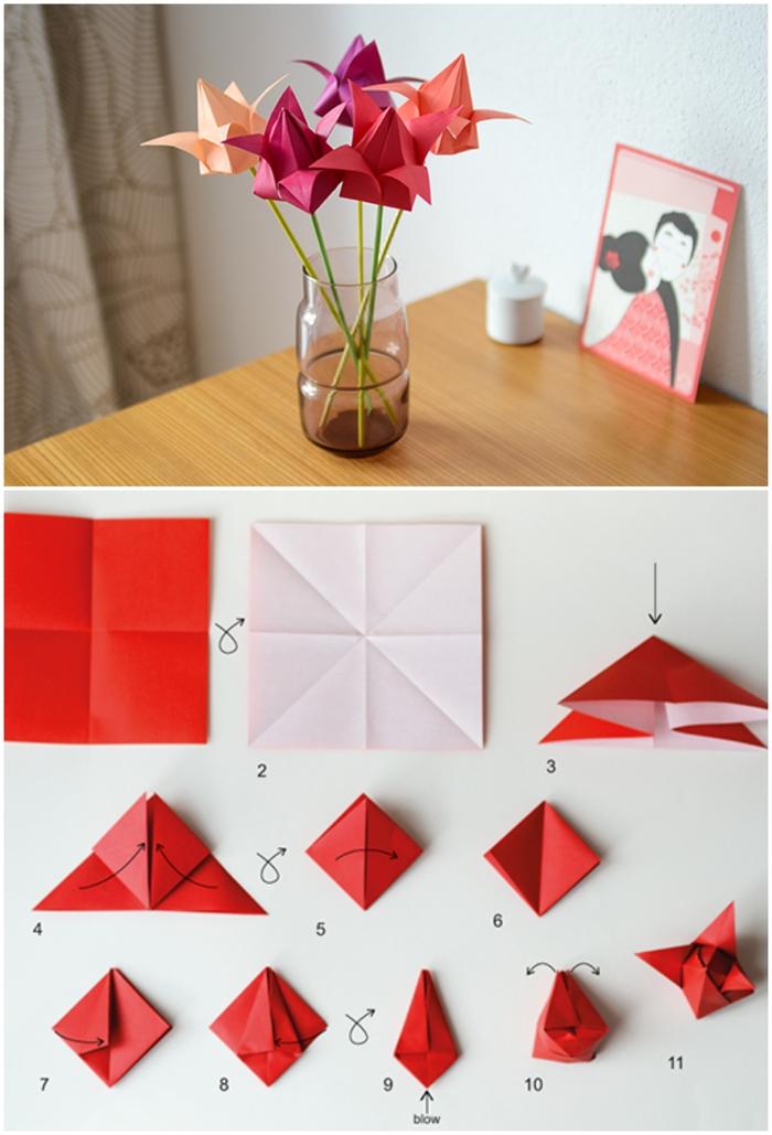 idée pour un bricolage de printemps facile pour réaliser une déco créative en origami, joli bouquet de tulipes en origami, comment faire une fleur en papier origami