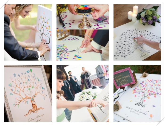 comment utiliser l'arbre à empreintes pour s'amuser pendant un mariage, invités qui laissent leurs empreintes sur la toile blanche, déco de table mariage avec bougies et fleurs