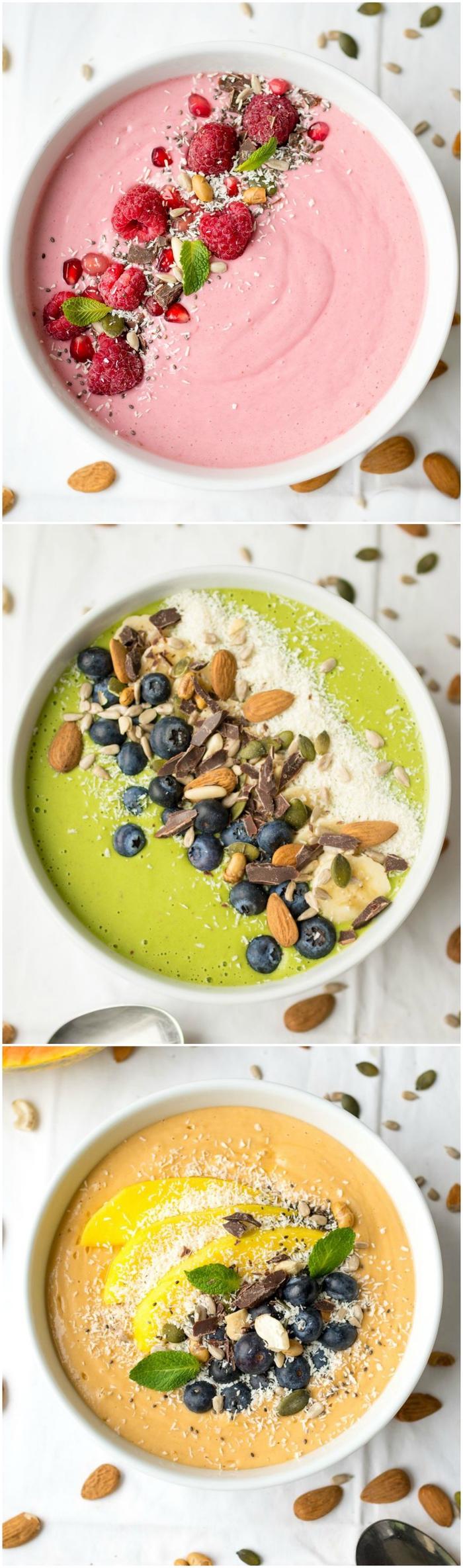 idée pour un petit-déjeuner saté et minceur à base de fruits mixés, smoothie bowl recette de base à trois saveurs