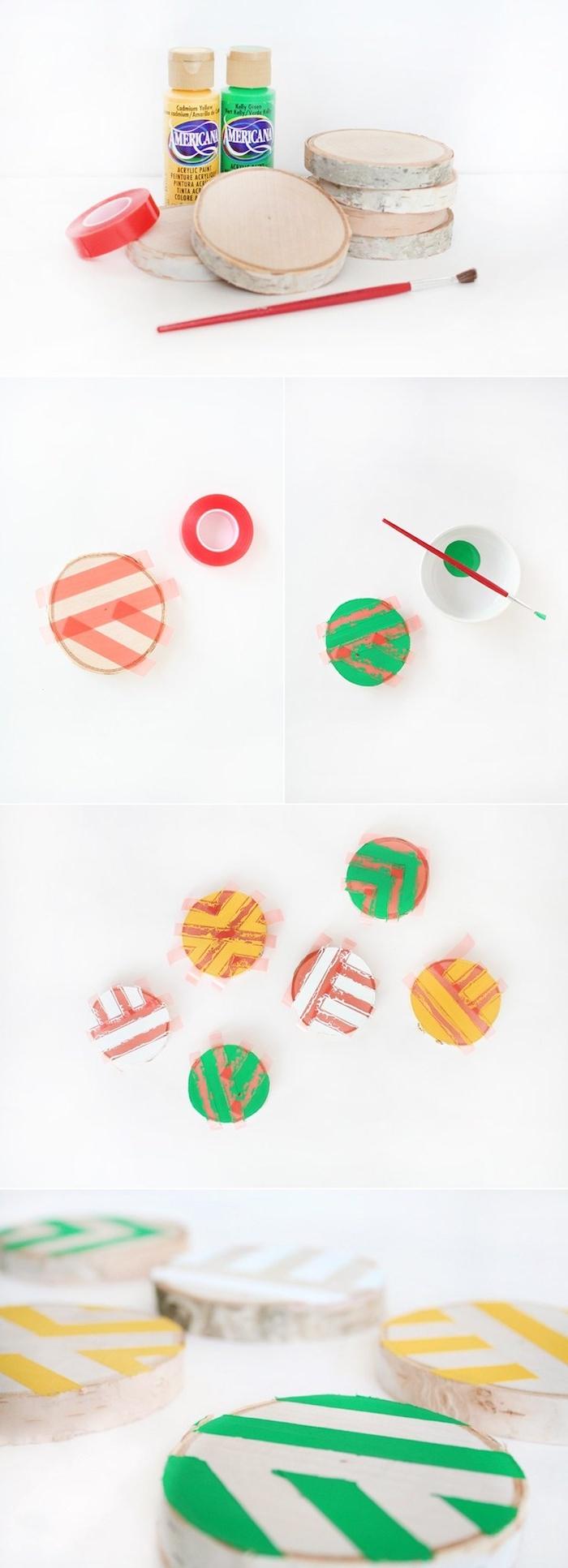 tutoriel pour faire des dessous de verre en rondins de bois décorés à motifs bandes colorées, activité manuelle adulte