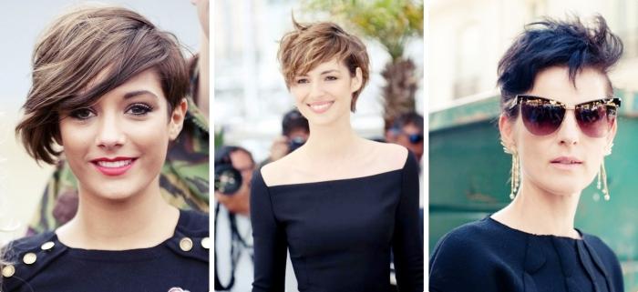 idée pour une coupe de cheveux court femme 40 ans en style rock, bijoux en or à combiner avec la robe noire