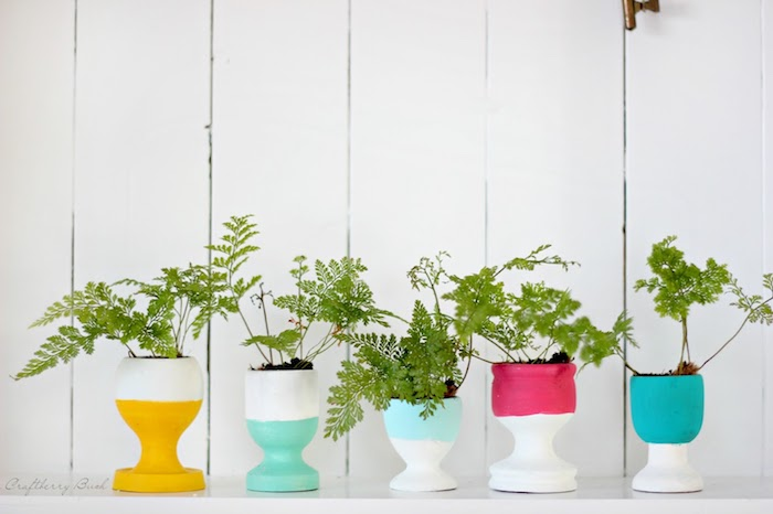 coquetier décoré de peinture bleue, jaune et rose avec des plantes vertes, petits pots de fleurs diy, activiter manuelle