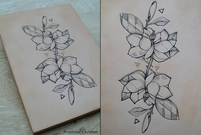Optique illusion dessin avec des formes géométriques fleur