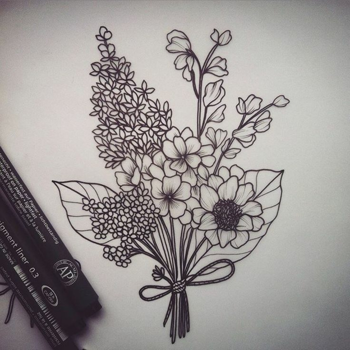 Image géométrique de dessin simple à recréer cool idée bouquet