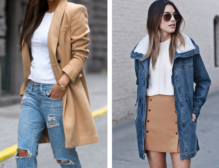 modèle de jeans clairs déchirés combinés avec un t-shirt blanc et un blazer long de couleur camel, manteau camel femme avec boutons noirs