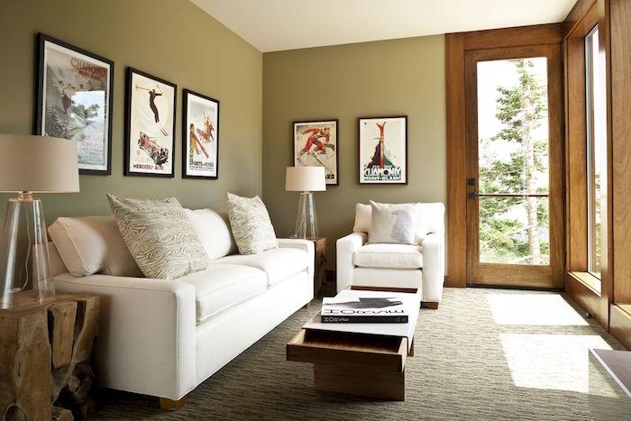 decoration salon avec publicité ancienne pour sport d hiver, tableaux retro pour deco interieur