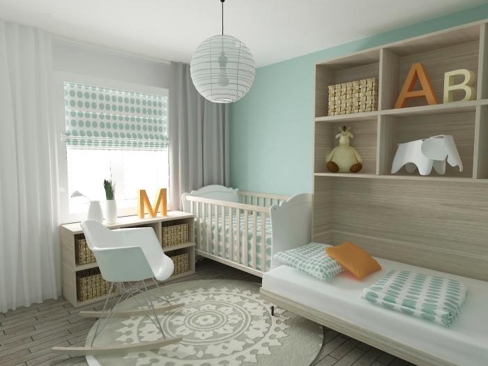 lit avec cadre et rangement de bois clair, chambre bebe complete avec meubles de bois clair et peinture murale vert pastel