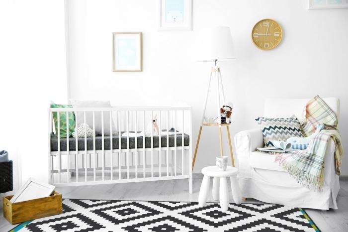 idée déco chambre bébé dans l'esprit minimaliste scandinave avec tapis nordique et meubles de bois clair