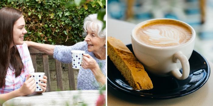 conversation dans le jardin entre une petite-fille aux cheveux marron et sa grand-mère aux cheveux blancs bouclés, offrir un moment inoubliable pour la fête des grands meres