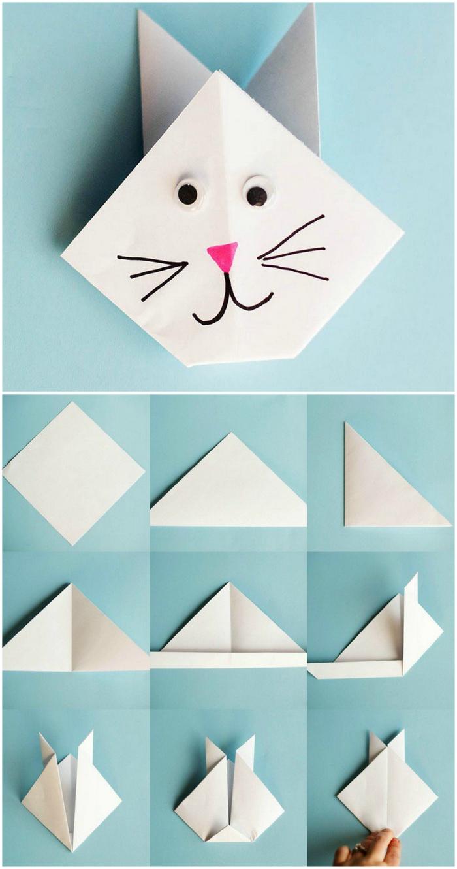 comment faire des animaux en papier, idée pour un modèle d'origami chat ultra facile à réaliser avec vos enfants