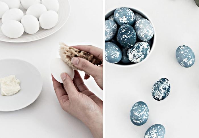 comment décorer les oeufs à coquille blanche avec peinture à design marbre gris, astuce pour déco de paques facile