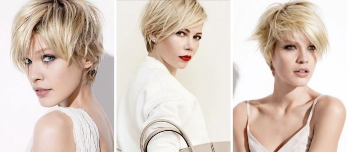 maquillage avec rouge à lèvres rouge pour femme aux yeux marron ou bleus, coupe courte femme avec racines noires et pointes blondes