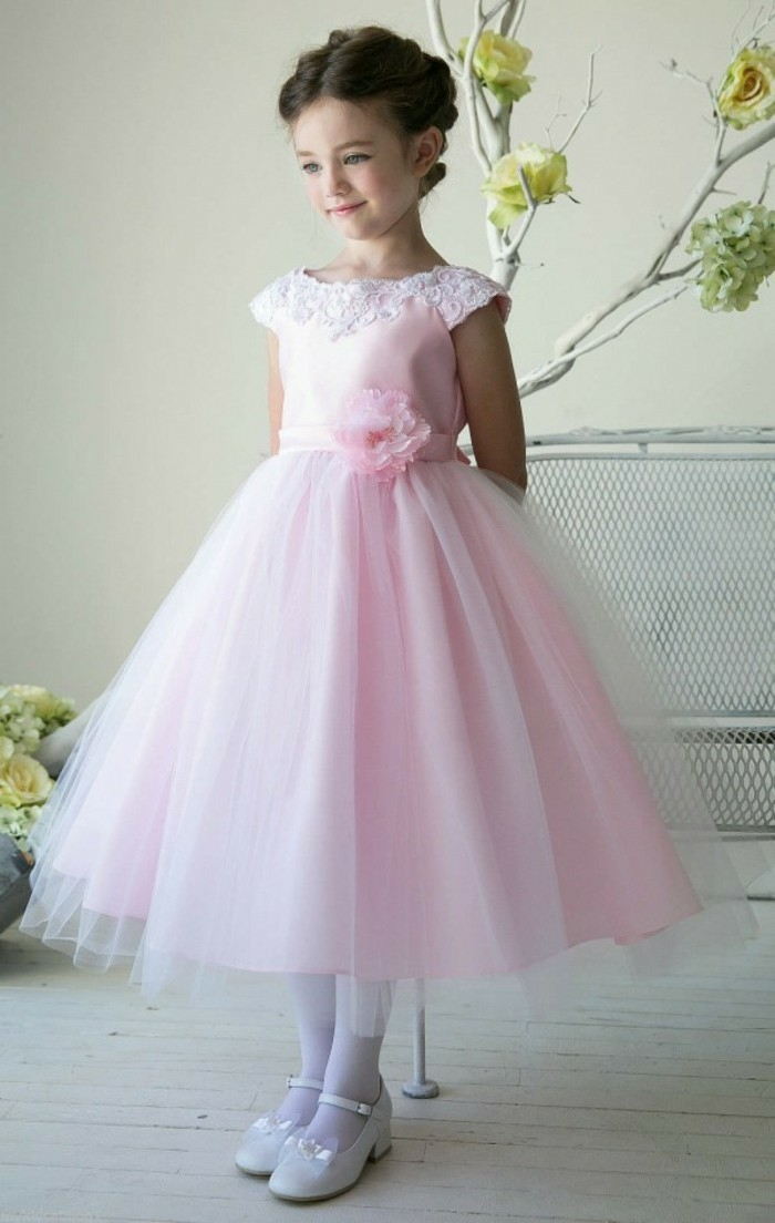 Robe ceremonie enfant robe ceremonie fille pas cher idée tenue simple rose robe princesse