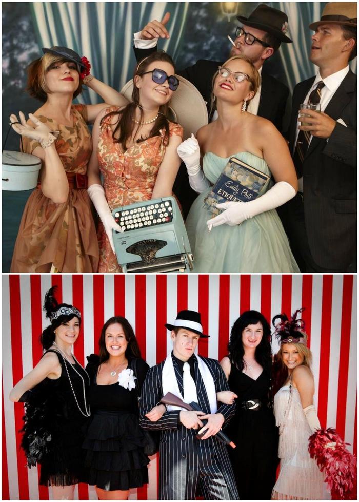 thème soirée déguisée années 20s et 80, idées de costumes de groupes inspirées des époques historiques
