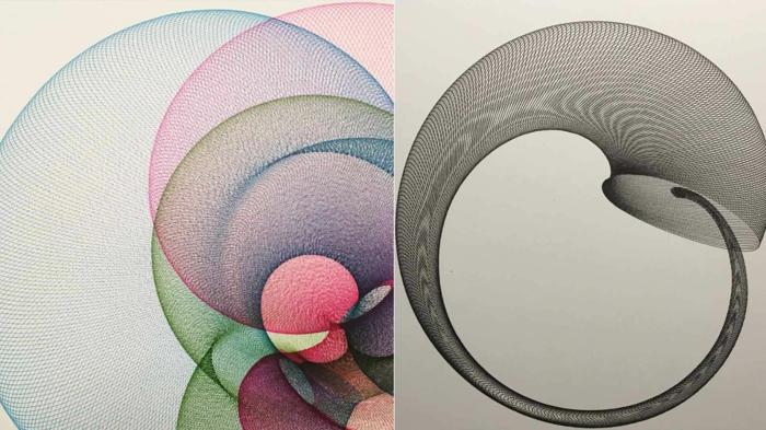 Papiers crayons dessin mathématique image dessin beau cercles coloré