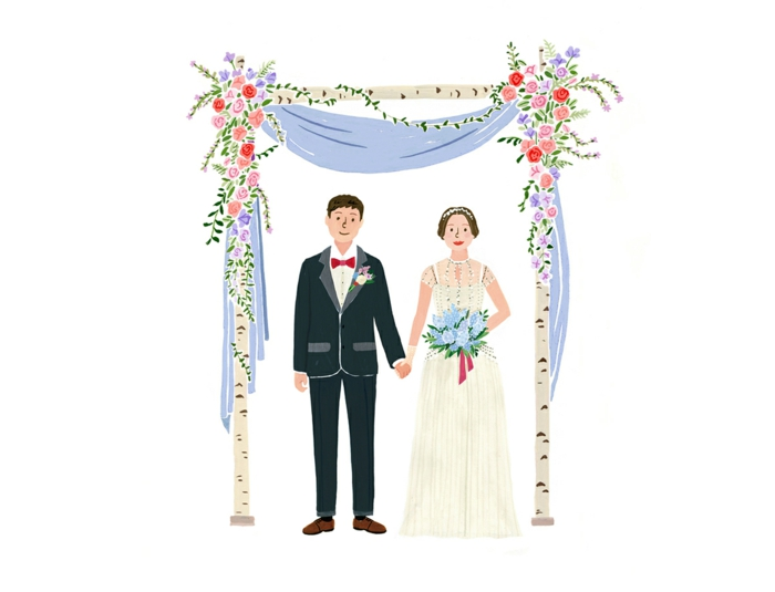 Noces image pour un mariage dessin illustration mariés la couple trop mignonne